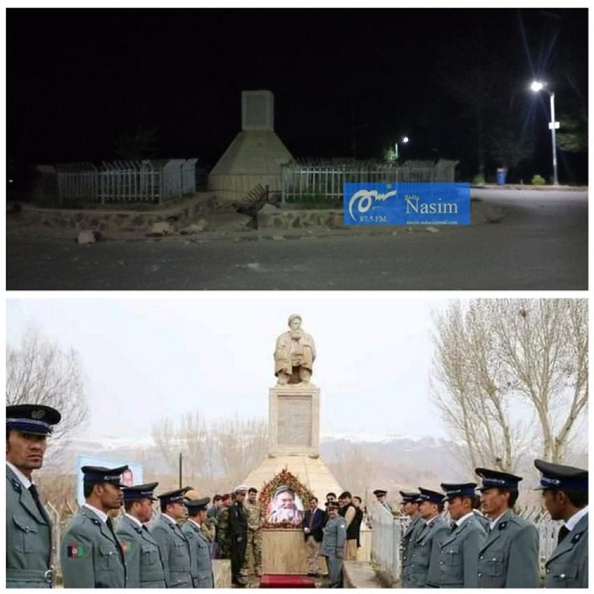 طالبان:تخریب مجسمه استاد مزاری کار ما نیست. باشندگان بامیان: «عاملان شناسایی شوند»